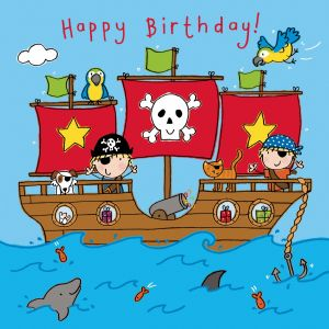 TW748 – Happy Birthday Card For Boy Pirate Ship